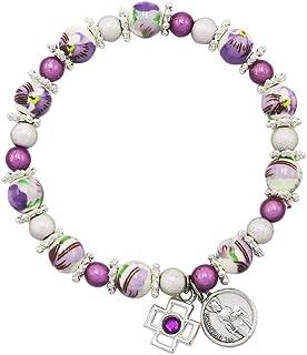 Rosemarie & Jubalee Women's Religious St Dymphna Purple and White Ceramic Bead Stretch Bracelet