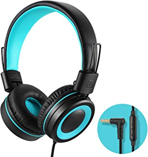 POWMEE M3 On-Ear Headphones with Microphone Lightweight Foldable Adjustable Stereo Bass Headphones with 1.3 M Tangle-Free Cord for smartphons Tablets MP3/4 with 3.5mm Jack Device
