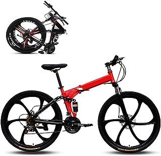 Jjwwhh Plegable Adulto Mountain Bike Bicicletas de Amortiguador portátil Boy Adultos y Hombre Kit Chica de la Bicicleta de...