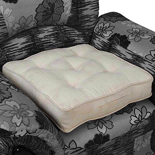 Homescapes großes Sitzkissen 50 x 50 x 10 cm, Sitzerhöhung mit Tragegriff und Veloursbezug, gepolsterte Aufstehhilfe für Sessel und Sofas, cremeweiß