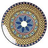 ELLENS Piatto Piano in Ceramica da 9 Pollici / 22,8 cm per Insalata, Pasta, Dessert, Frutta, Forno a microonde e lavastoviglie, stoviglie in Porcellana con Motivi Eleganti