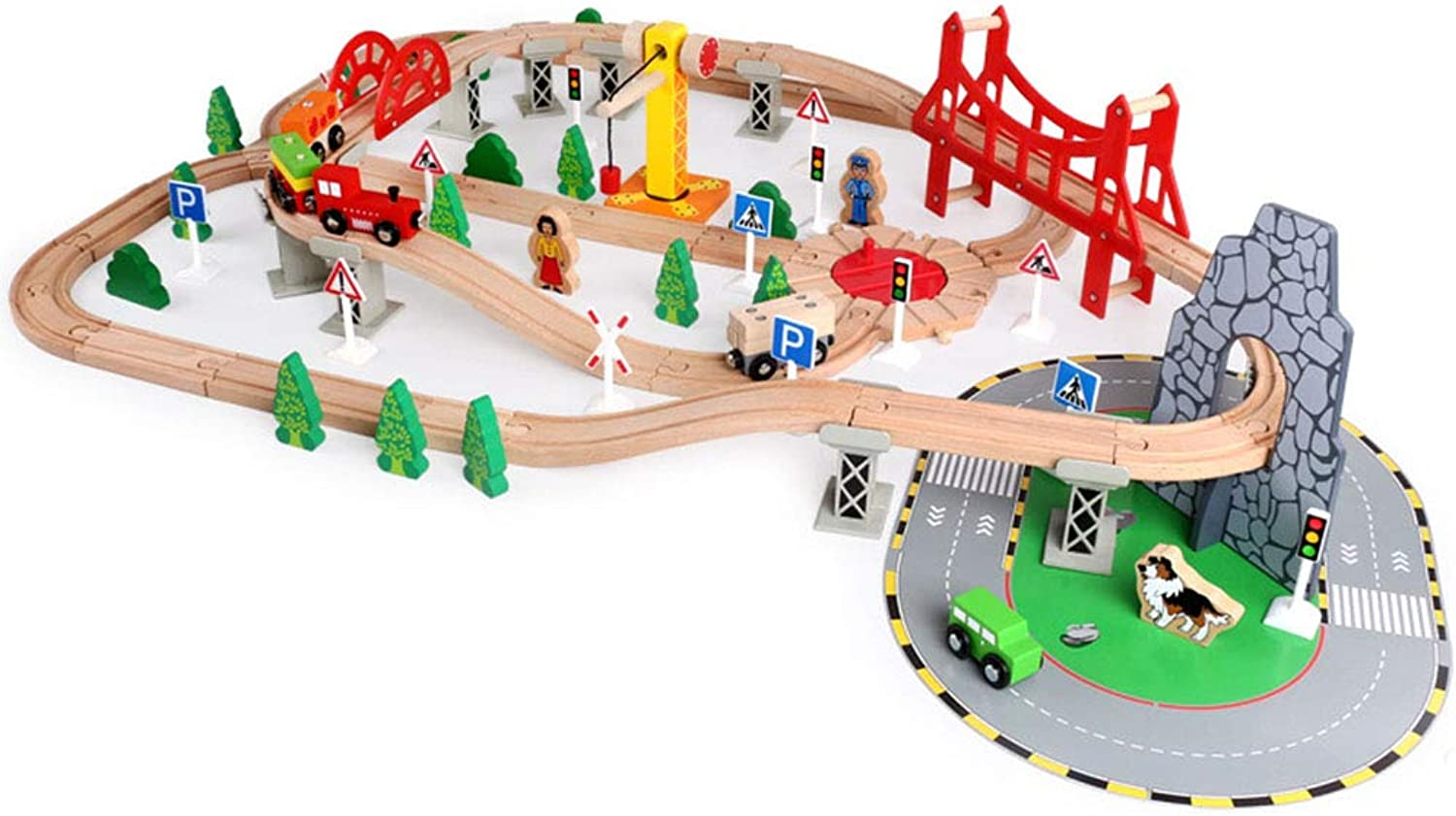 Wooden Rail Transit Scene Small Train Set Wooden DIY Puzzle Building Blocks Toy Gift (100 Pieces)