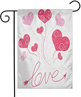 Fickdle Modern Garden Flag Love Add Beauty W12 x L18 Inch Valentines Heart Shaped Balloons Party Entertainment Happiness Theme Retro Magenta Rose White
