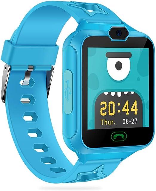 AGPTEK Smartwatch Niños con 8GB SD Tarjeta Reloj Inteligente para Niños con Hacer Llamada SOS Cámara Música Juegos y Despertador Regalo para Niño Niña de 3-12 años Azul