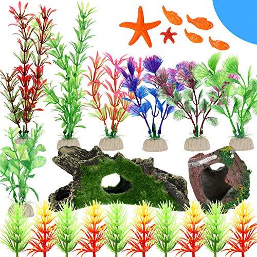 WILLBOND 25 Pieces Fish Tank Decorations Decor Set Resin Wood Cave Tree Trunk Broken Barrel Artificial Aquatic Plants Small Resin Pencil Finger Starfish and Decorative Fish for Home Aquarium