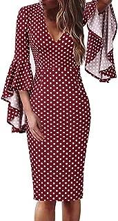 3/4 Trumpet Ruffle Sleeve Polka Dot Print V-Neck Slim Fit Dress for Women