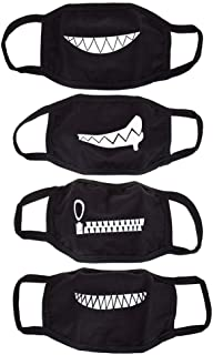 NUOMI 4 Pack Teeth Pattern Mouth Masks Unisex Cotton Blend Black Anti-dust Mask