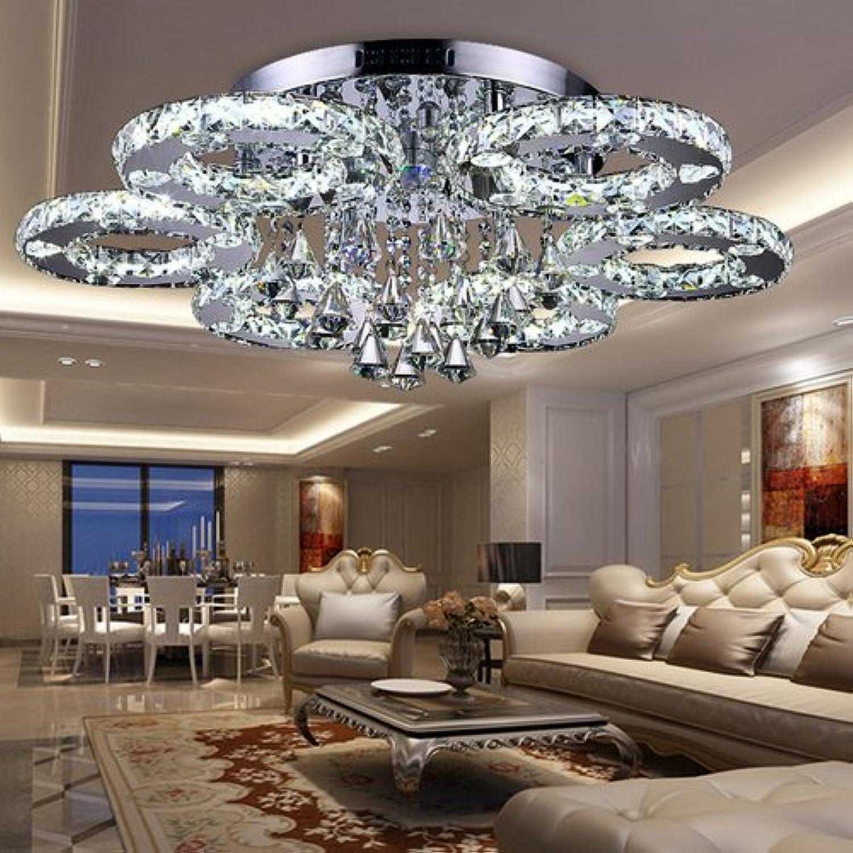 Fsders VINGO 88W LED Kristall Deckenleuchte Deckenlampe Modern Kronleuchter Pendelleuchte Hngeleuchte Energie Sparen einstellbar für Wohnzimmer Küchen Schlafzimmer mit Fernbedienung, Glas, 12 W