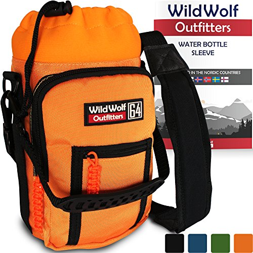 Water Bottle Holder for 64oz Bottles by Wild Wolf Outfitters - Orange - Carry, Protect and Insulate Your Best Flask with This Military Grade Carrier w/ 2 Pockets & an Adjustable Padded Shoulder Strap
