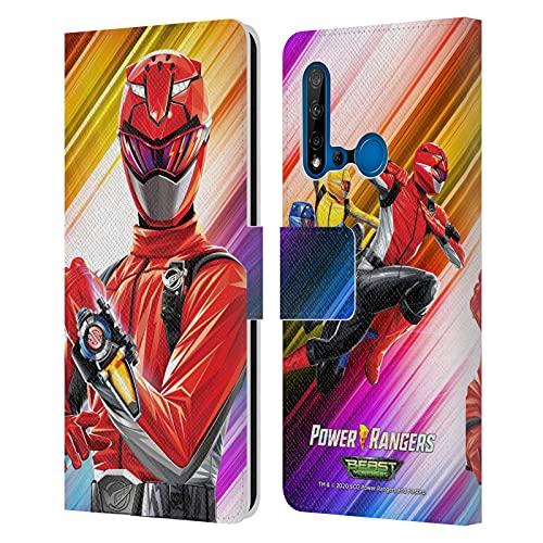 Head Case Designs sous Licence Officielle Power Rangers Beast Morphers Ranger Rouge Personnages Coque en Cuir à Portefeuille Compatible avec Huawei P20 Lite (2019)