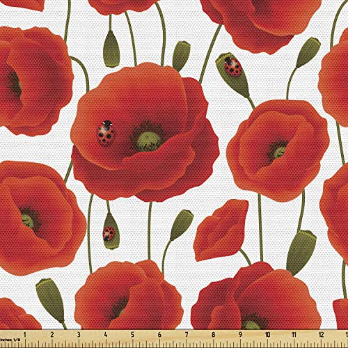 Ambesonne Poppy Fabric by The Yard, Spring Flowers with Ladybugs Animals and Plants Flora and Fauna Nature, Decorative Fabric for Upholstery and Home Accents, 2 Yards, Red Olive Green