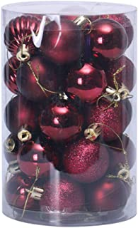 YHNUJMIK Christmas Decorations 34 Pieces Christmas Tree Ball Sets New Year Ornaments Christmas Tree Gift Plastic Bauble Hanging Ball Decor Gifts,Burgundy