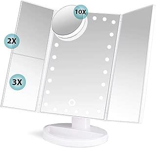 soafiya 化粧鏡 鏡 女優ミラー ライトミラー 三面鏡 ミラー 拡大鏡2x 3x 10x 明るさ調節可能 180 回転