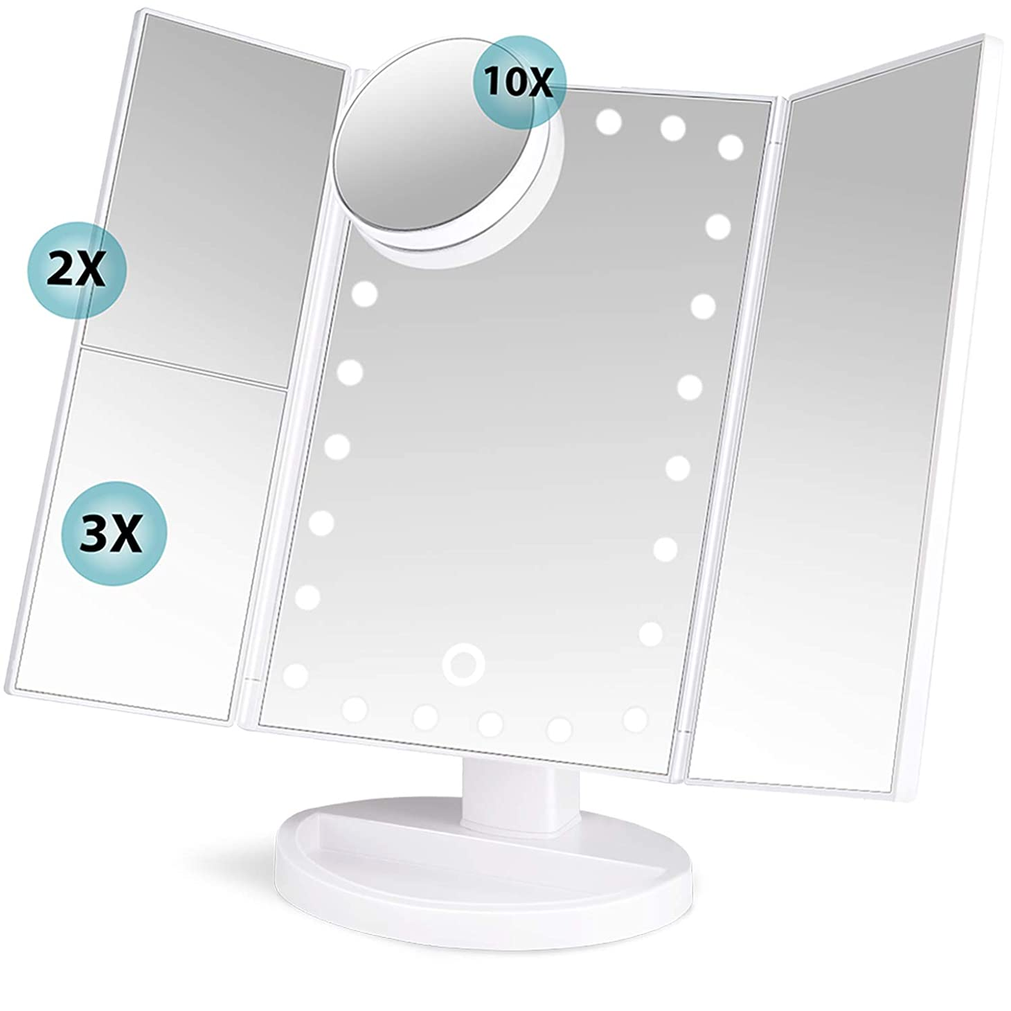 活気づける防衛信じるsoafiya 化粧鏡 化粧ミラー 鏡 三面鏡 女優ミラー 卓上 led付き 折りたたみ 拡大鏡 2&3倍 明るさ調節可能 180°