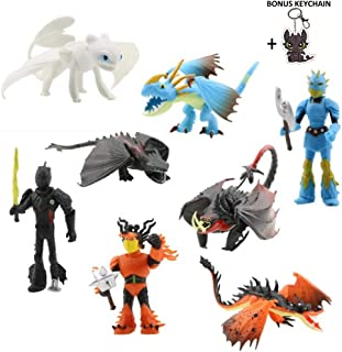 Birthday Party Decorations with How to Train Your Dragon Characters – Dragon Train-Themed Cake Toppers – 8-Piece Toothless Action Figure Set for Kids and Adults – 3.5-8.5 cm Toy Doll Collection
