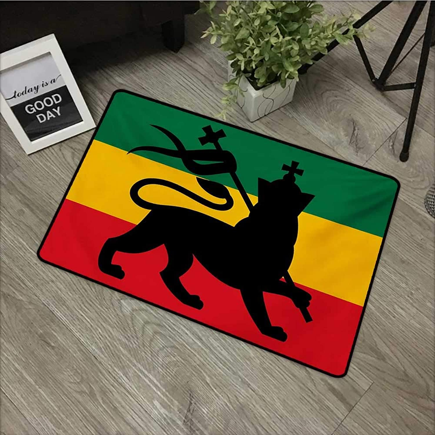 Clear printed pattern door mat W35 x L59 INCH Rasta,Rastafarian Flag with Judah Lion Reggae Music Inspired Design Image,Black Red Green and Yellow Easy to clean, no deformation, no fading Non-slip Doo