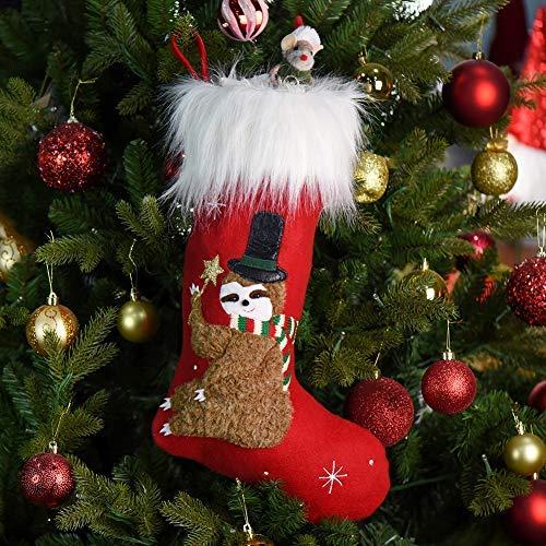 Xmas Sloth Red Socks Plush Faux Fur Christmas Stocking