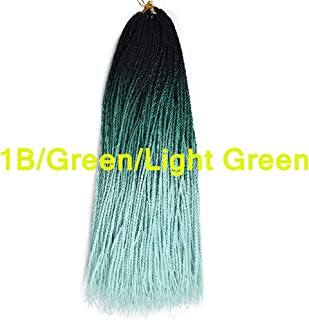 Feelgrace Three Tone Color 100% High Temperature Hand Twist Braids 3Packs Crochet Braids Comfort Ombre Color Shiny and Soft Senegalese Hair 24Inch 20Roots/Pcs (1B/Green/Light Green)