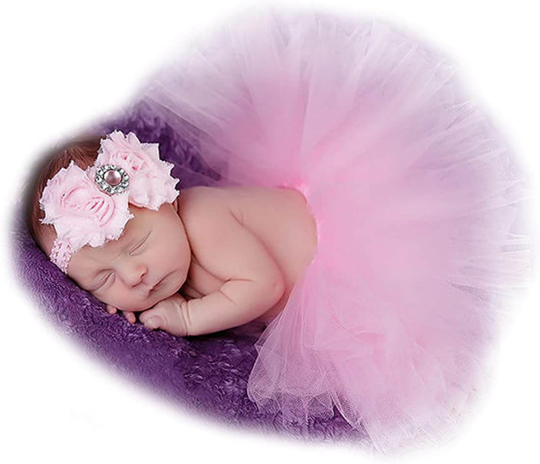 NEEVAS Baby Girl Tutu Dress with Flower Headband Costume Photography Props