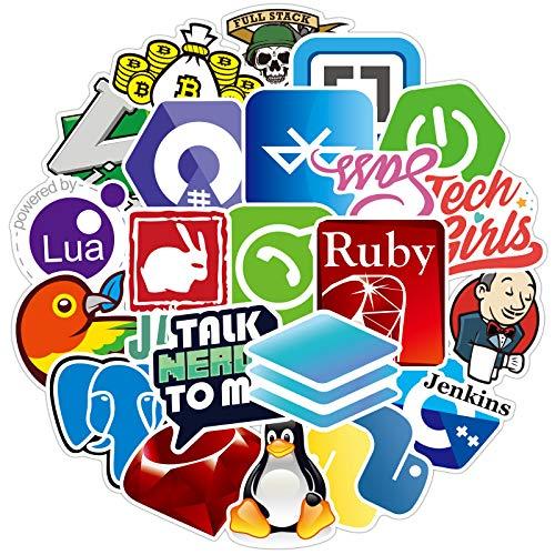 Pieoaoe Programmieraufkleber, Vinyl, Graffiti-Aufkleber von IT-Logo und Geek-Coder-Logo, Entwickler-Programmierer, Dekoration, Open Sources, Linux, Mysql Politik, Python C++ It Logo