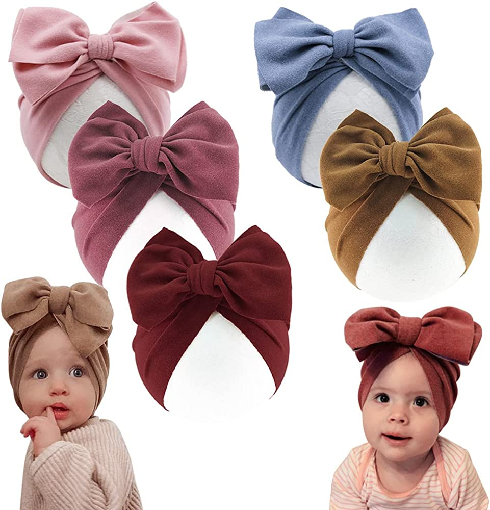 Multifunction Newborn Baby Turban Hat Soft Cotton Toddler Kids Head Wrap with Big Bowknot Cap