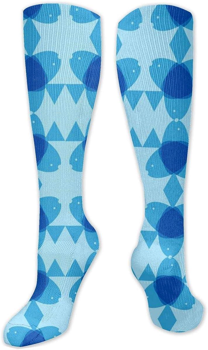 Blue Overlap Knee High Socks Leg Warmer Dresses Long Boot Stockings For Womens Cosplay Daily Wear
