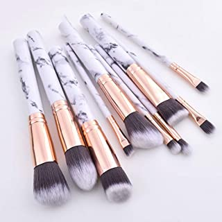 10pcs Marble makeup brush with holder, Rose Gold Make Up Brushes with Holder, Synthetic Makeup Brushes Case