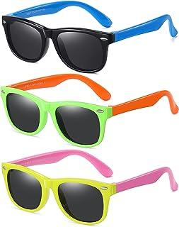 Kids Polarized Sunglasses for girls boys 3 Pack, Flexible...