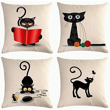 HOSTECCO - Fundas de almohada con diseño de gato de 45,7 x 45,7 cm, juego de 4 fundas de cojín cuadradas para sofá