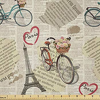 Ambesonne Romantic Fabric by The Yard Newspaper Vintage Retro with Paris Lettering in Hearts Art Print Stretch Knit Fabric for Clothing Sewing and Arts Crafts 1 Yard Black White