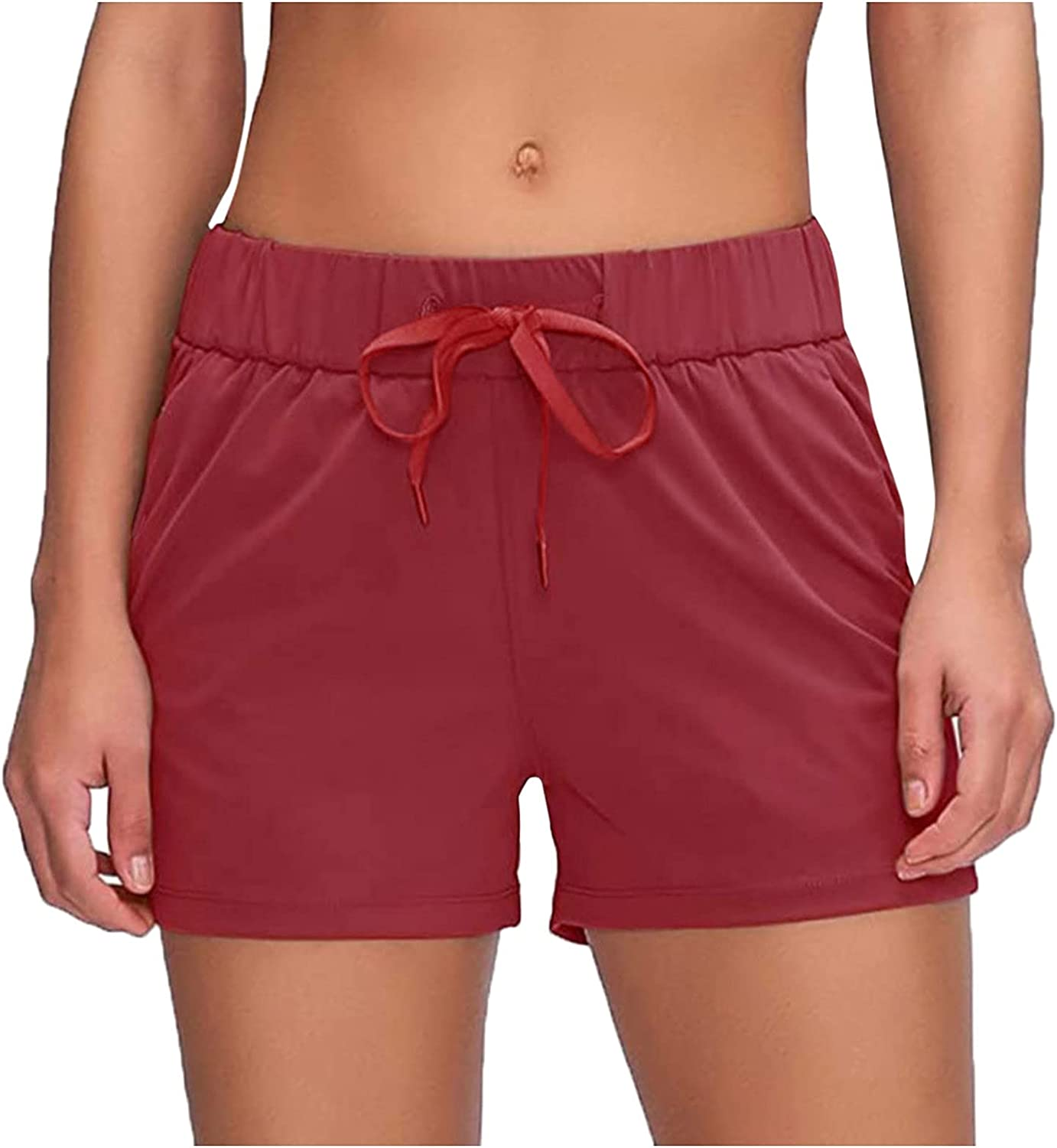 SUNTIN 2021 Womens Running Shorts Sport Gym Athletic Active Workout Shorts with Pockets