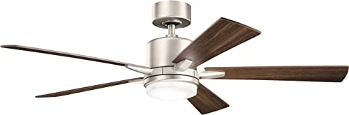 high quality KICHLER 330000NI Protruding Mount, 5 Silver/Walnut Blades Ceiling fan lowest with 73 watts light, online Brushed Nickel online sale