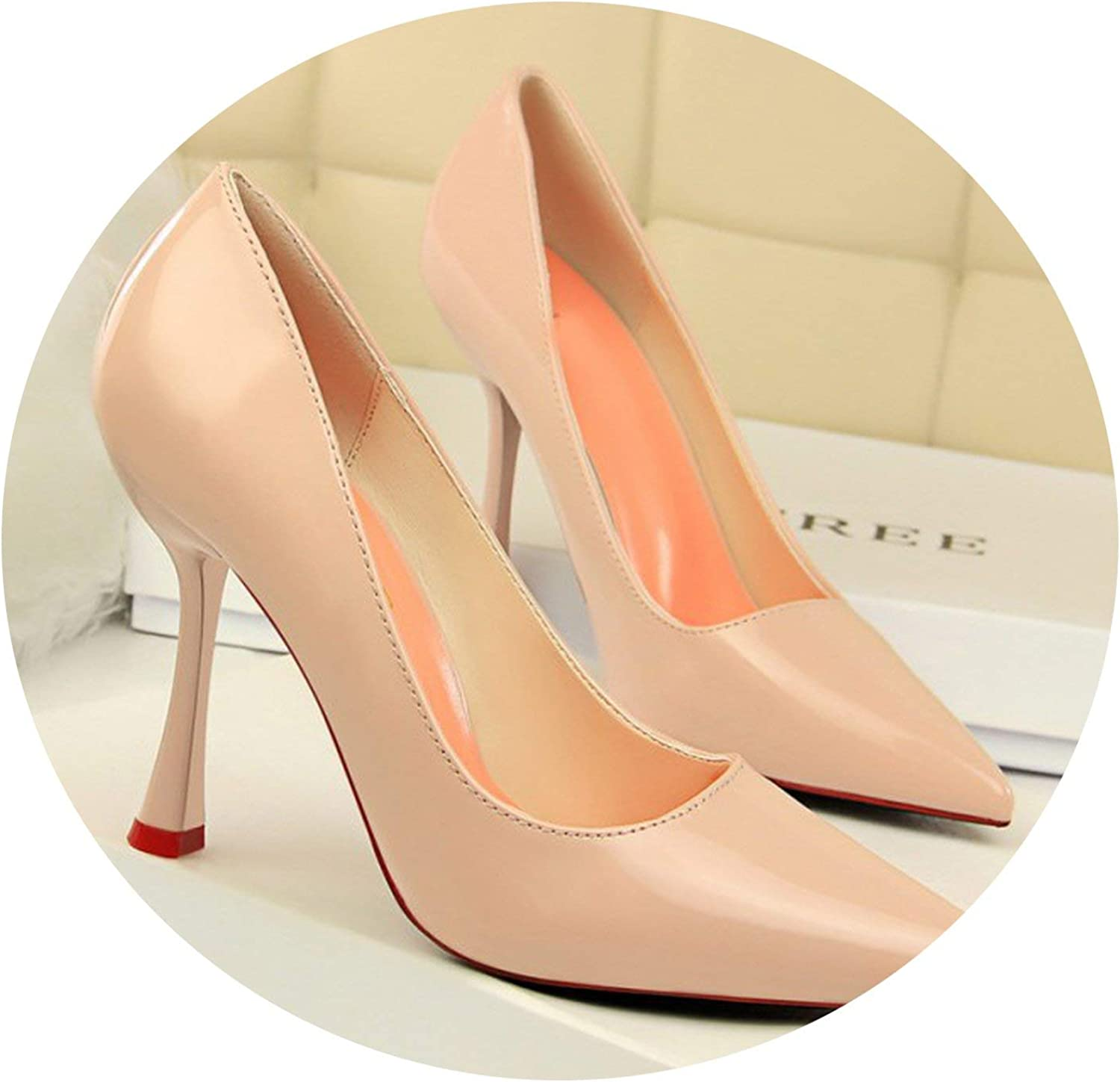 Mr Z Waroom Thin Heels Women Shallow Pumps Fashion Pointed Toe High Heels shoes Patent Leather Wedding Pumps