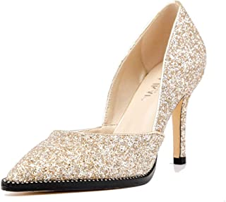 LALA IKAI Women's Pointed Toe Pumps Gold Glitter High Heels with Rhinestone Stiletto Wedding Party Dress Shoes