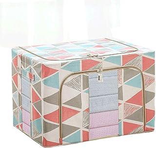 Boîtes de rangement avec fenêtre transparente, panier de rangement en lin et coton empilable avec couvercle et poignée, co...