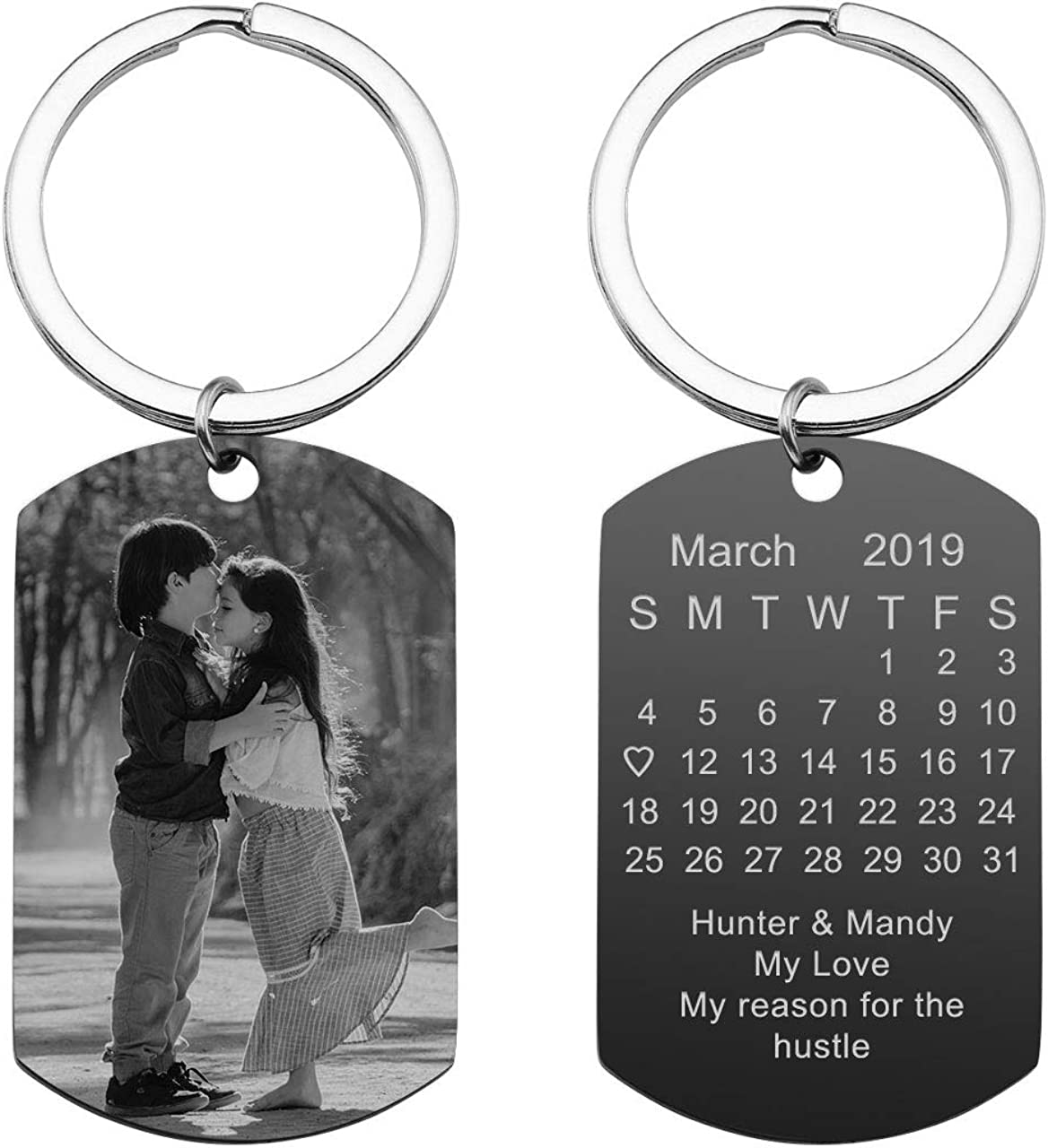 Personalized Master Custom Special Date Calendar/Photo/Text Customized Picture Military Dog Tag Pendant Keychain Keyring for Men Women Anniversary Birthday Gift