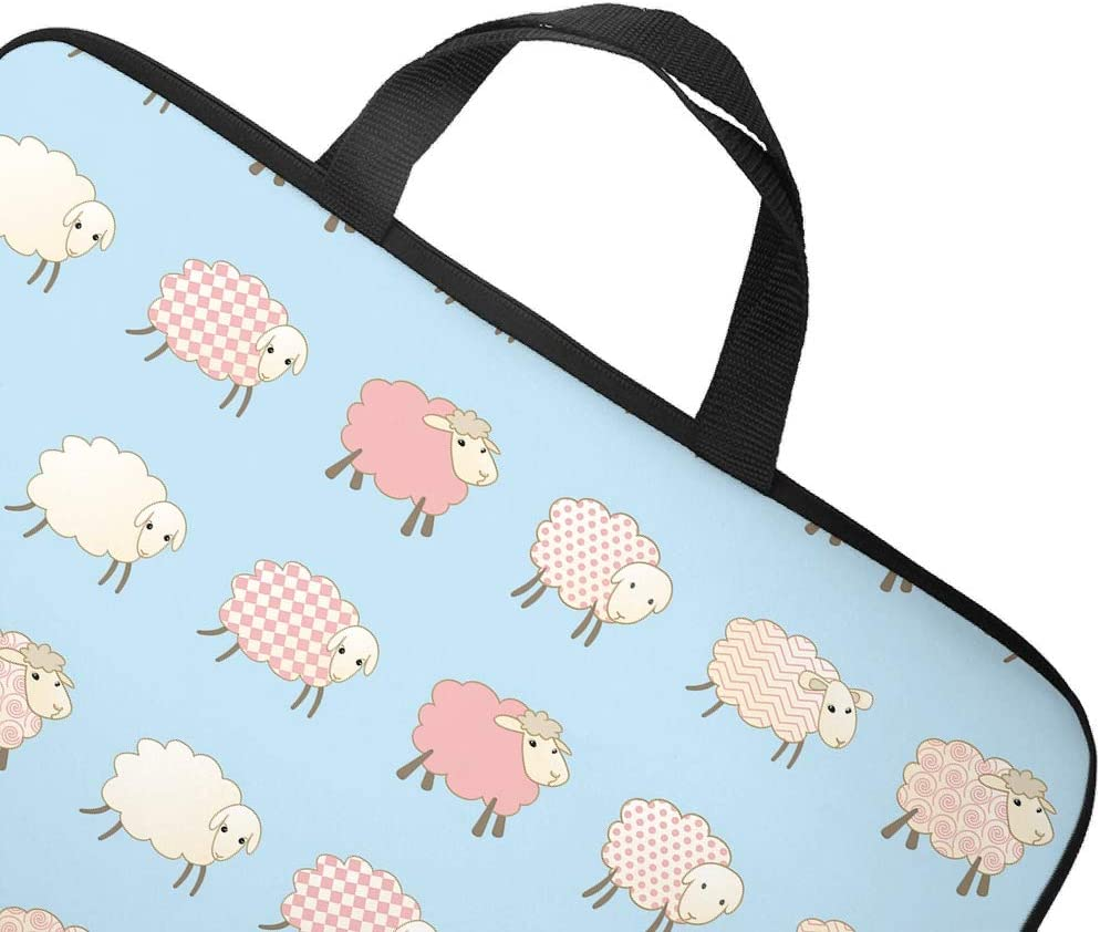 Pink Sheep Cartoon Animal Blue Laptop Sleeve Funny Graphic Tablet Bag Dust-Proof Polyester Notebook Sleeve for Businessmen Office Staff White 13inch