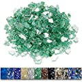 Grisun Evergreen Fire Glass for Fire Pit, 9 1/2 Pounds 1/2 Inch High Luster Reflective Tempered Glass Rocks for Natural or Propane Fireplace, Safe for Outdoors and Indoors Firepit Glass