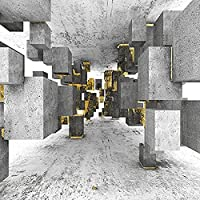 壁紙 3D ステレオグレー長方形金箔幾何壁紙スペース拡張レストランカフェクリエイティブ装飾 3D Papel 壁画