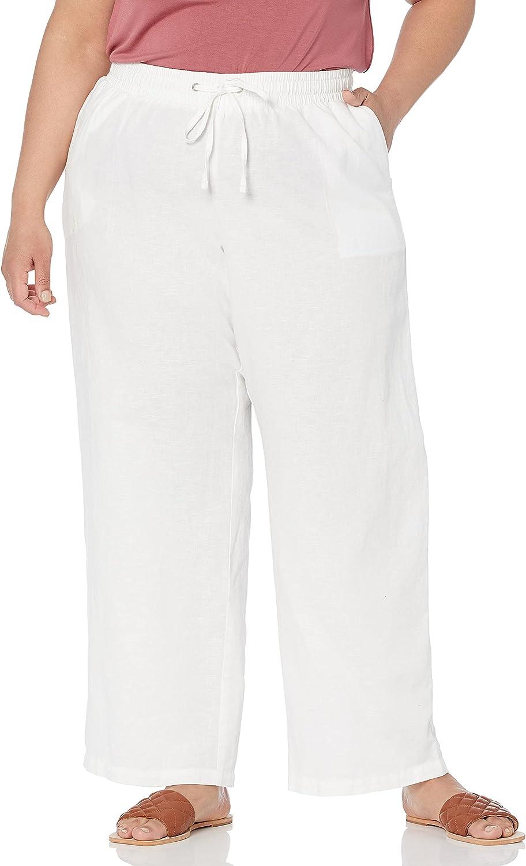 Amazon Essentials Women's Plus Size Linen Blend Drawstring Wide Leg Pant