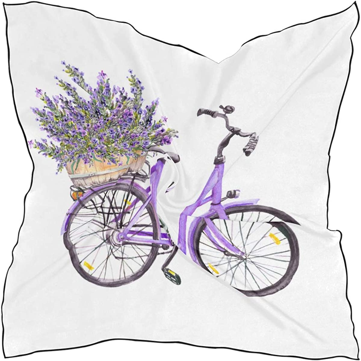 Women's Soft Polyester Silk Square Scarf Flower Spring Nature Bicycle Romantic Sen Mood Hand-painted Fashion Print Head & Hair Scarf Neckerchief Accessory-23.6x23.6 Inch