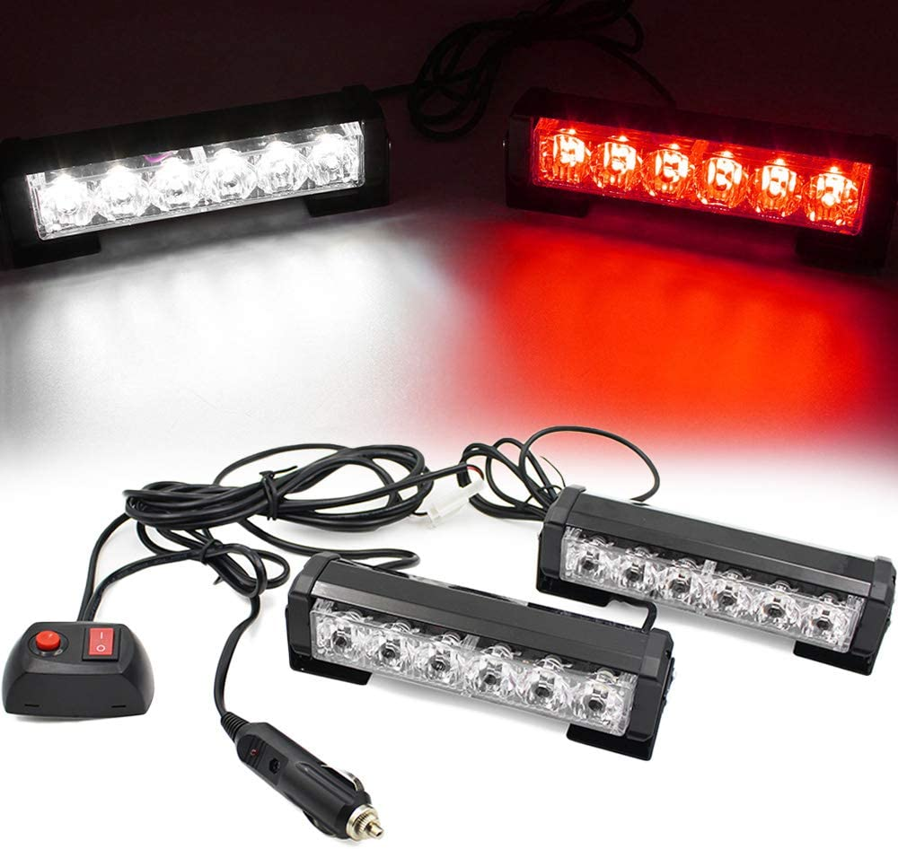 FOXCID 2 X 6 LED 9 Modes Traffic Advisor Emergency Warning Vehicle Strobe Lights for Interior Roof//Dash//Windshield//Grille//Deck Universal Waterproof Amber//Yellow