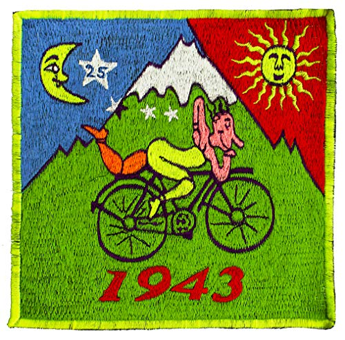 LSD Fraktal Mandala Aufnäher ~20cm Schwarzlicht leuchtend Albert Hofmann Patch