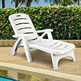 RELAX4LIFE Lounge Chair for Outside Patio Pool Beach W/Wheels and Armrests 5 Adjustable Position Reclining Chaise Lounge