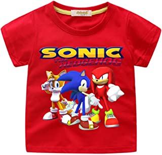 Boys' Sonic The Hedgehog T-Shirt - Featuring Sonic, Tails, and Knuckles Tee for 2-13Years Kids