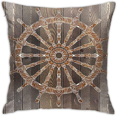 Navy Decor Nautical Ship Wheel Pattern On Wooden Background Marine Sea Captain Theme Art ES Umber Brown Throw Pillow Covers 18inch*18inch,Pillowcase Decorative - No Inserts Included