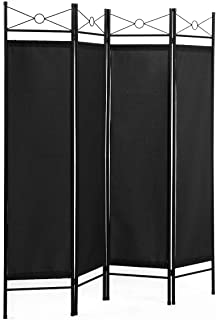 JAXSUNNY 4 Panel Room Divider Screens Home Office Folding Privacy Screens with Steel Frame & Fabric Surface Freestanding Room Dividers, Black