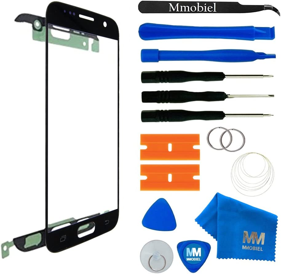 MMOBIEL Front Glass Replacement Compatible with Samsung Galaxy S7 (Black) Display Touchscreen incl Tool Kit