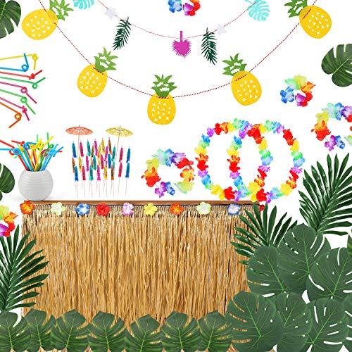 Ucradle Hawaii Luau Tischröcke Set - 116 Stücke Hawaiian Luau Hibiscus Party Kit mit Hawaiianische Blüten Tropischen Banner Künstliche Palmenblätter für Hawaiian BBQ Garten Beach Thema Dekoration