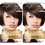 L'Oreal Paris Superior Preference Fade-Defying + Shine Permanent Hair Color, 4 Dark Brown, Pack of...